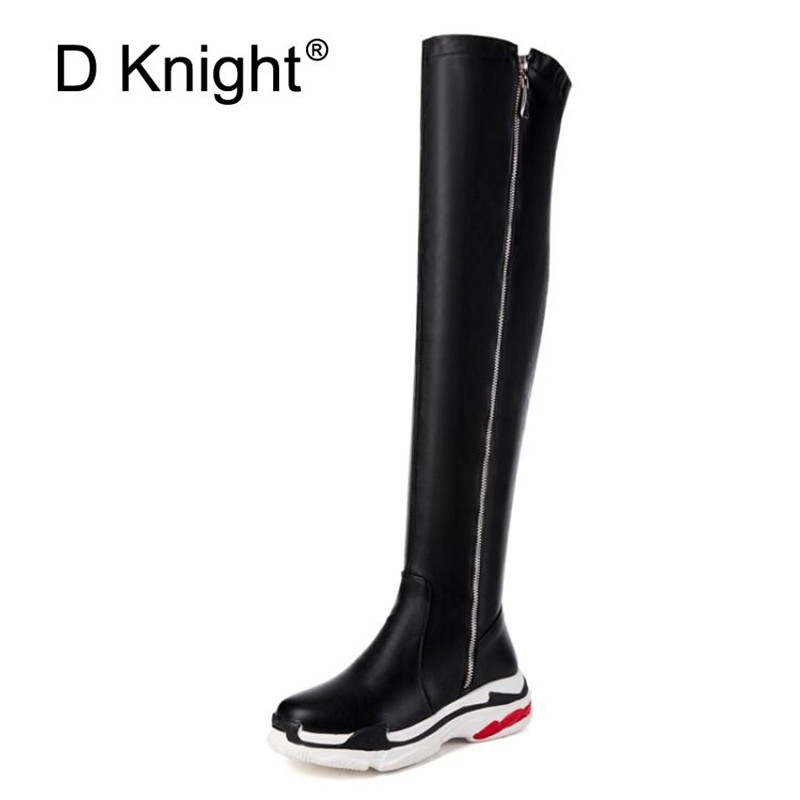 Big Size 29 44 Sports Trend People Over The Knee High Sock Boots Fashion White Black