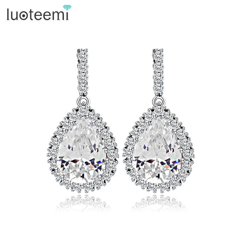 Aliexpress Luoteemi Aaa Cubic Zirconia Clic Drop Crystal Earrings With Tiny Cz Luxury Bridal Wedding For Women Whole From