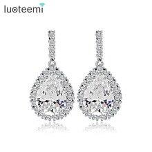 LUOTEEMI AAA Cubic Zirconia Classic Big Drop Crystal Earrings with Tiny CZ Luxury Bridal Wedding Earrings