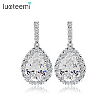 LUOTEEMI AAA Cubic Zirconia Classic Big Drop Crystal font b Earrings b font with Tiny CZ