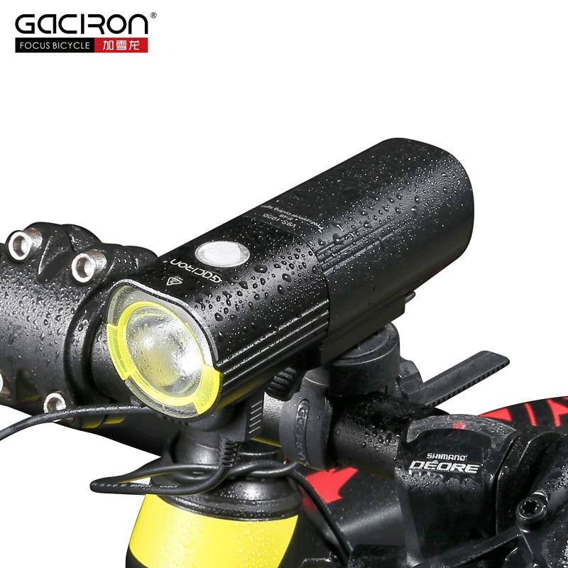 GACIRON Vélo Avant Guidon Lumière 4500 mAh IPX6 Étanche LED Lumière USB Rechargeable Banque de Puissance lampe de Poche 1000 Lumen 6 Mode