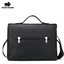BISON DENIM Genuine Leather Messenger Bag Men 14'' Laptop Handbag Male Business Shoulder Bag Slim Crossbody bag for Men N2598(China)