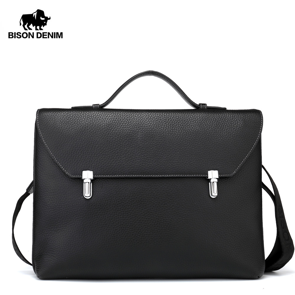 BISON DENIM Genuine Leather Messenger Bag Men IPad Handbag Male Business Shoulder Bag Slim Crossbody Bag For Men N2598