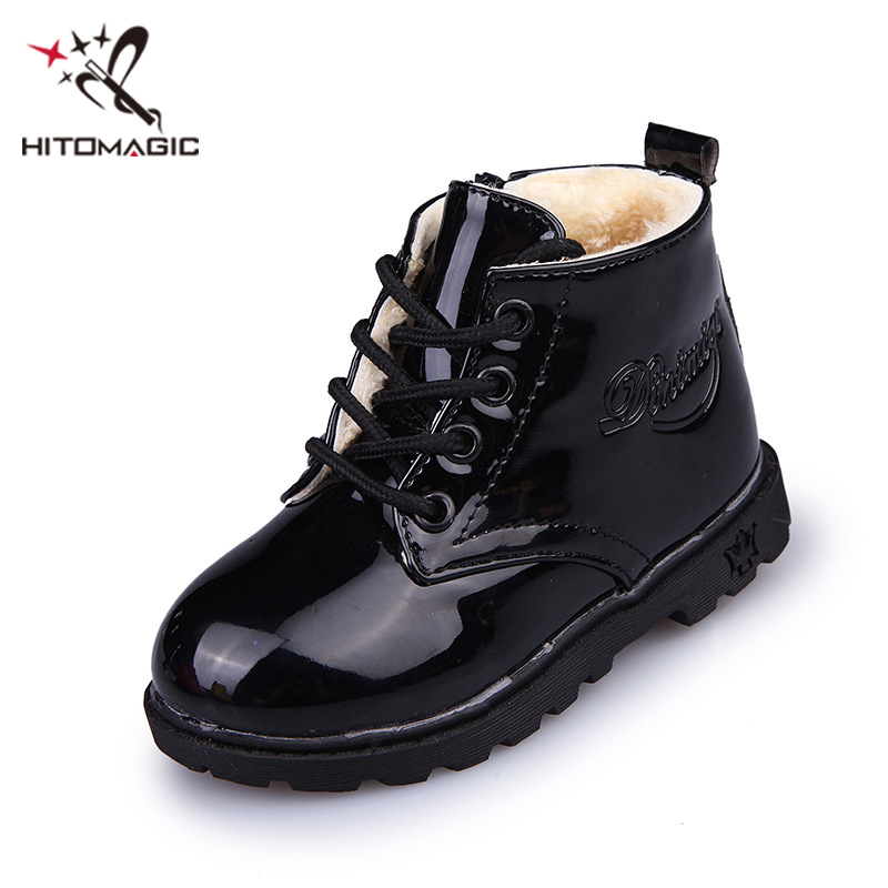 HITOMAGIC Brand Girl Shoes Girls Boots Winter Leather Kids Children Shoes Boys Martin Boots Waterproof Rubber Ankle Snowshoes