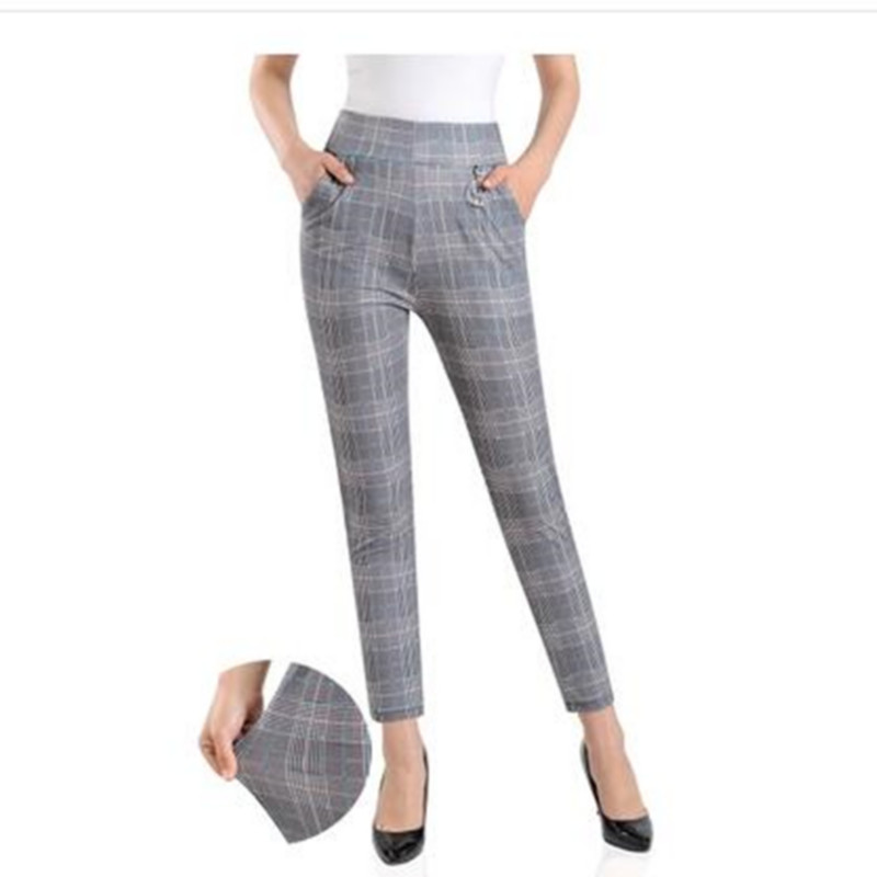 Image 4 - 2019 Women plus size Plaid Pants Ankle Length High Waist summer Fitness Trousers Plus Size 3XL 4XL 5XL streetwear-in Pants & Capris from Women's Clothing