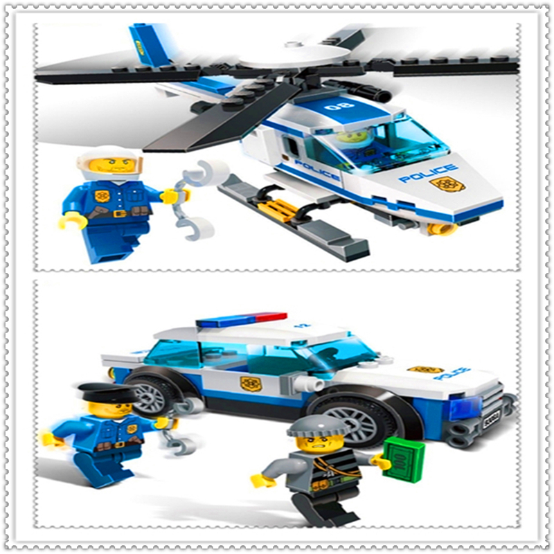 GUDI 9308-9308A 194Pcs City Series Police Helicopter Vehicle Building Block Educational  Toys For Children Compatible Legoe gudi city police series educational diy building block kids toy compatible with legoe birthday gift brinquedos for boy 9313