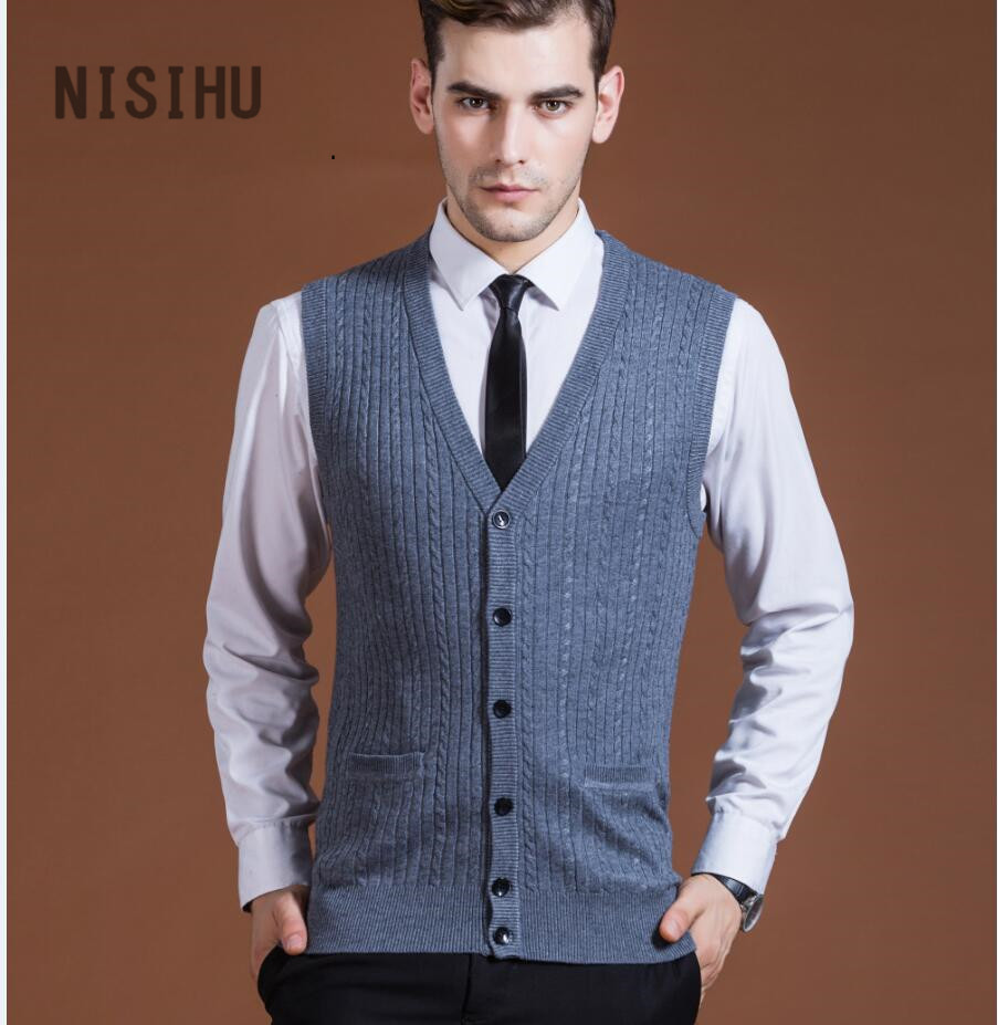 Hot Sale New Leisure Style Men's Solid Color V-neck Cashmere Sleeveless Cardigan Knitted Buttons Sweater Vest For Men