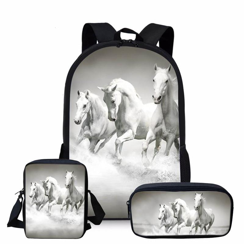 3 pièces/ensemble 3D Crazy Horse imprimer école sac à dos ensemble pour adolescent filles garçons Cool combinaison enfants enfants sac à dos enfant sacs à dos