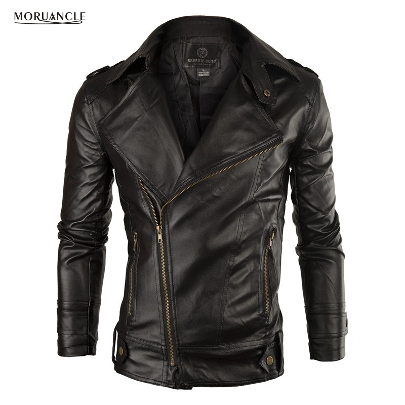 Moruancle Moda hombre pu chaqueta de cuero Faux chaqueta de cuero para hombre sólido slim fit turn collar tamaño M-XXL