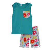 New Brand Summer Girl Clothing Sets Brief Design Sleeveless O-neck Children Cotton Shorts Girls Printed Clothes Set S106