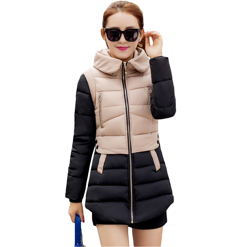 Winter Women Coat Lady Patchwork Cotton Jackets Female Slim Warm Thick Parka Overcoat 2017 Casual Plus Size Parkas Hooded XH411 2017 women warm winter coat jacket women coat parka hooded thick long overcoat cotton soft parkas lady coats jackets qjw95