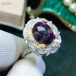 Image 2 - MeiBaPJ נדיר טבעי שחור נקי אופל חן טבעת ושרשרת 2 Siut עבור נשים אמיתי 925 כסף סטרלינג תכשיטים סט