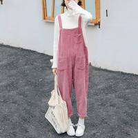 Mferlier Winter Trousers Women Solid Multi Pockets Overalls Mori Girl 2018 New All Match Loose Vintage Warm Pink Corduroy Pants