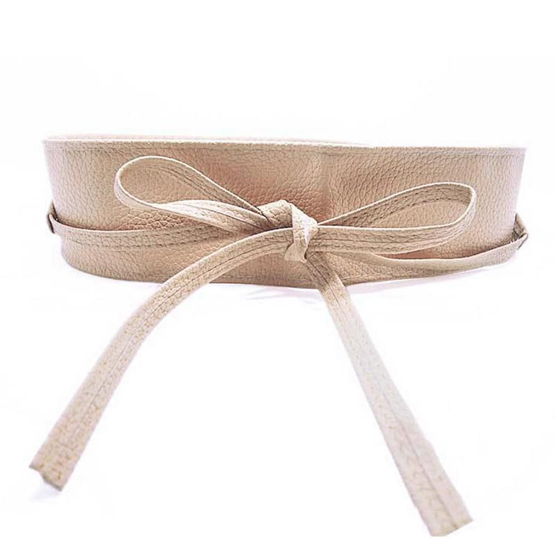 Womens Soft Leather Wide Self Tie Wrap Around Obi Waist Band Boho Dress Belt