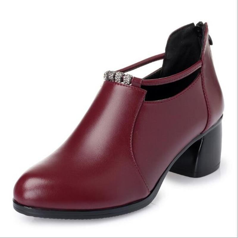 Лидер продаж; женские туфли на высоком каблуке; г.; элегантные удобные туфли из натуральной кожи; женская обувь; модные туфли на высоком каблуке со стразами - Цвет: red