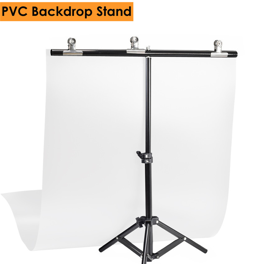 цена на Photography PVC Backdrop Background Support Stand System Metal Backgrounds for Photo Studio 68cm Backdrop & 3pcs Clamp