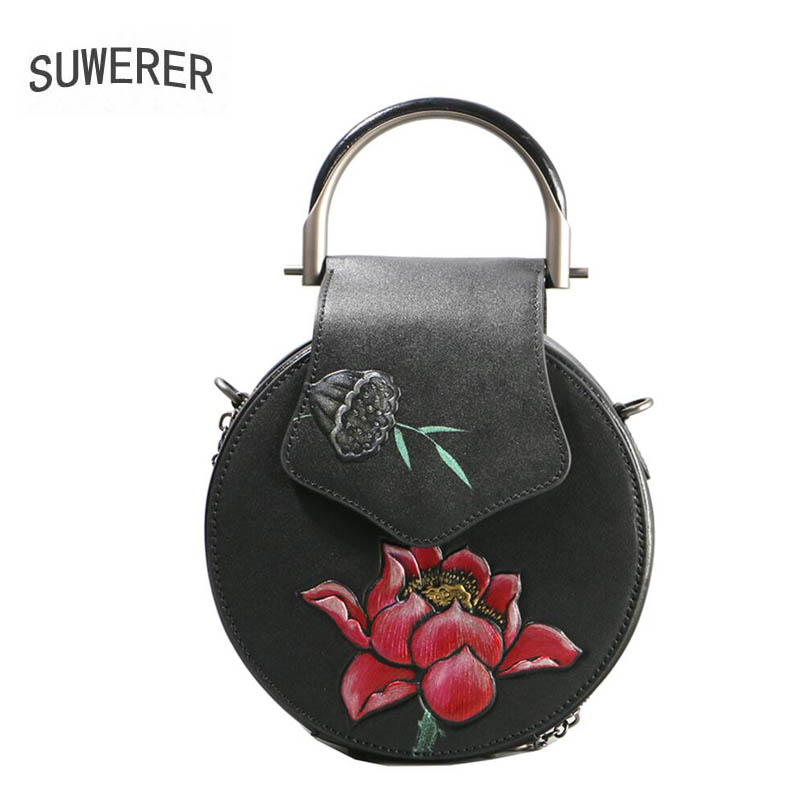 SUWERER 2018 New Genuine Leather women bags Handmade embossing luxury cowhide small tote women bags designer women famous brands suwerer women genuine leather bags 2018 new fashion handmade drawing plum flower top cowhide luxury designer women leather bags