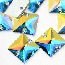 3240 Crystal AB Square Sew on Rhinestones  Sewing Flatback Rhinestone Stones Beads Craft Supplies