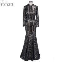 Sexy Nouvelle Longue Manches Noir Sequin Sirène Robes De Bal 2018 Zipper Up Formelle Parti Robes de Soirée Robes robe de festa