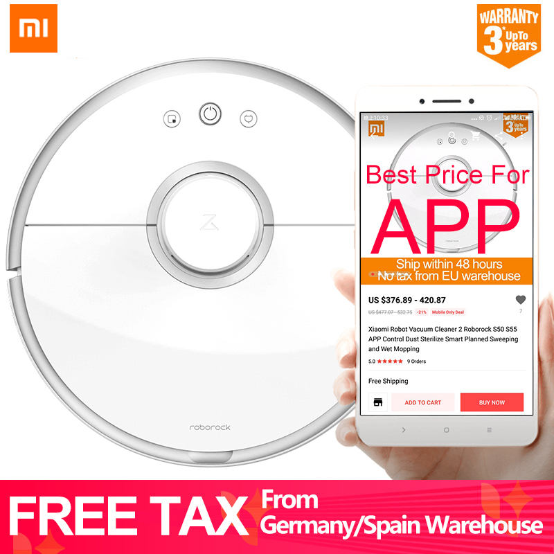 Xiaomi Robot Vacuum Cleaner 2 Roborock S50 S55 APP Control Dust Sterilize Smart Planned Sweeping and Wet Mopping [international version]2000pa original xiaomi s5 roborock vacuum cleaner 2nd robot 2 mopping smart control sweeping robot 2