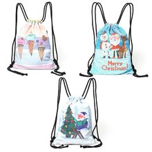 New Cartoon Women Backpack School Children Backpacks Unicorn Mermaid Sequins Drawstring Beach Bag Christmas Travel Shopping Bag