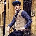2016 Nueva Primavera Hombres Con Cuello En V Delgado de Un Solo Pecho Chaleco Chaleco de traje de Hombre Marca de Ropa Formal Para Hombre Chalecos de Color Caqui Clásico Retro