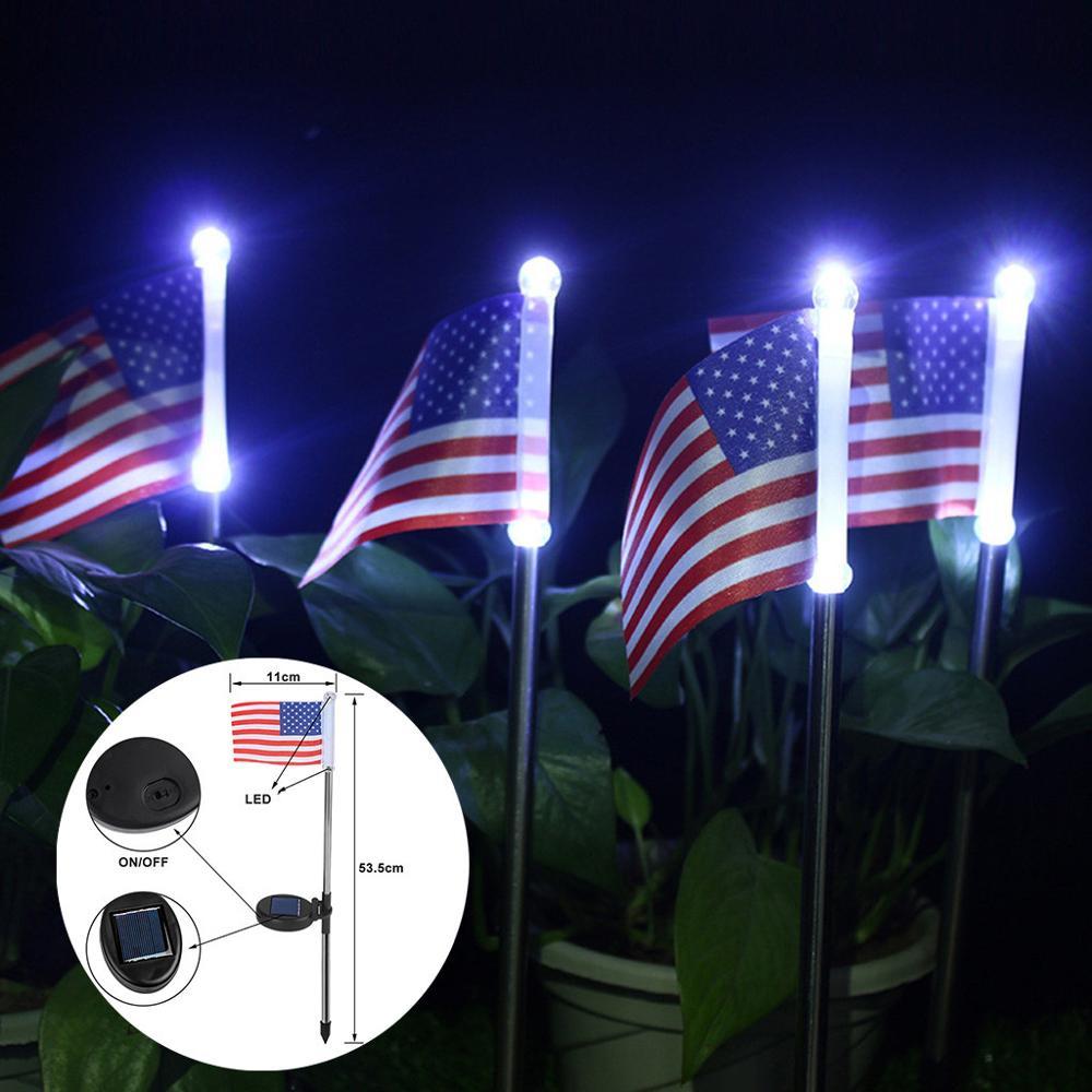 2pc Solar Light American Flag Led