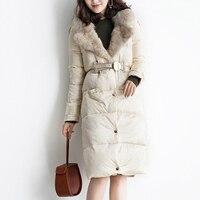 Белая утка вниз куртка Для женщин зимнее пуховое пальто Мода Фокс меховой воротник Винтаж Роскошные Для женщин Зимняя одежда, пуховики YP2132