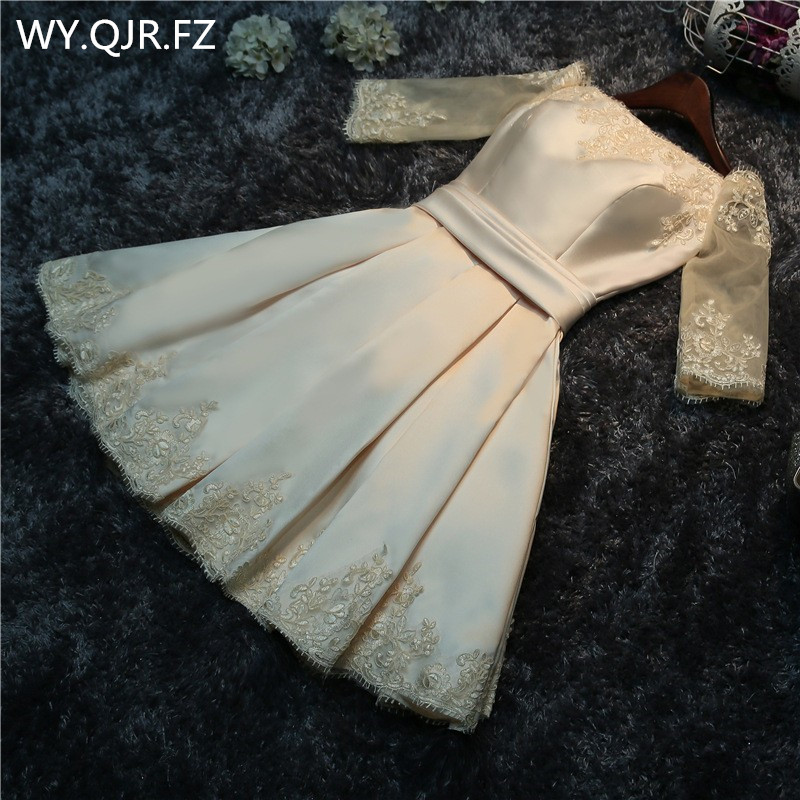 Real Photos Wholesale Fashion Prom Dress 2019 Spring Summer Bride Married Toast Clothing Bridesmaid Dress Short Champagne #XA2