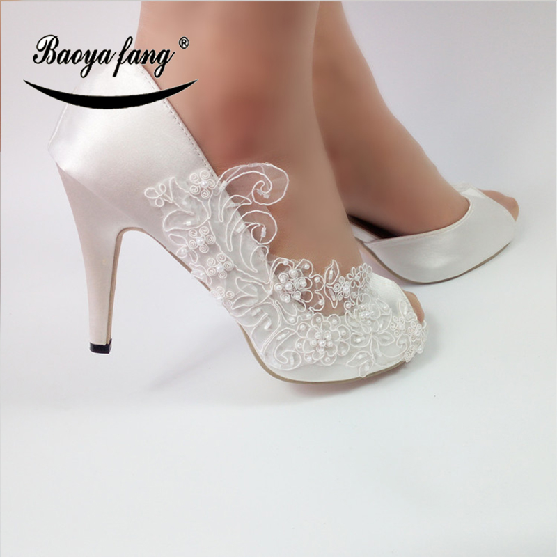 BaoYaFang New White Lace fashion shoes For woman Flower Wedding shoes Bride High shoes Ladies Party dress shoe
