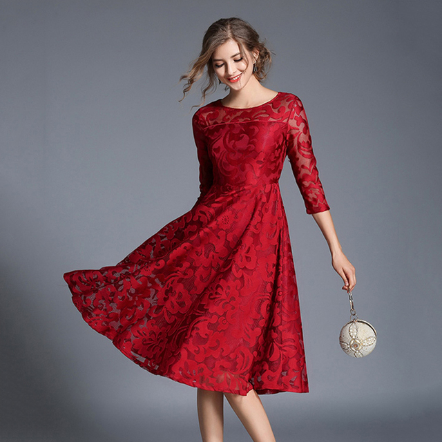 bb91af5aa TingYiLi Red Blue Lace Dress Autumn Elegant Ladies Office Midi Dress Hollow  Out Sexy Women Dress Party