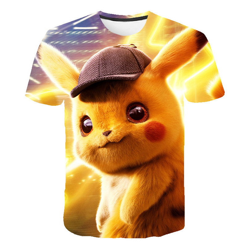 2019 New Detective Pikachu Pokemon Top 3d Print Tshirt Kids Summer Clothes Boys T Shirts Girls Hip Hop Streetwear