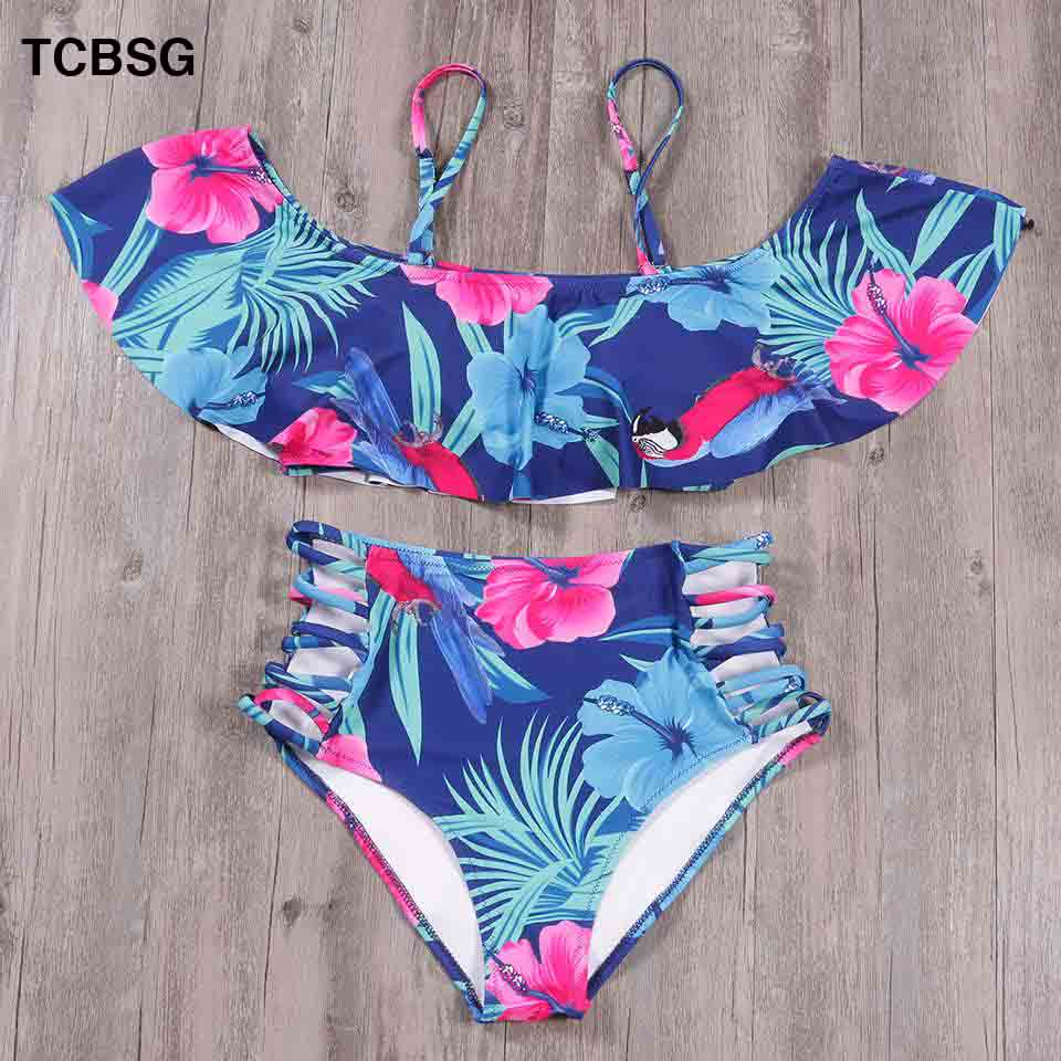 TCBSG Sexy Bikini Women Swimsuit Ruffle Swimwear Female Print Biquini High Waist Bathing Suits Off Shoulder Swimwear Bikinis