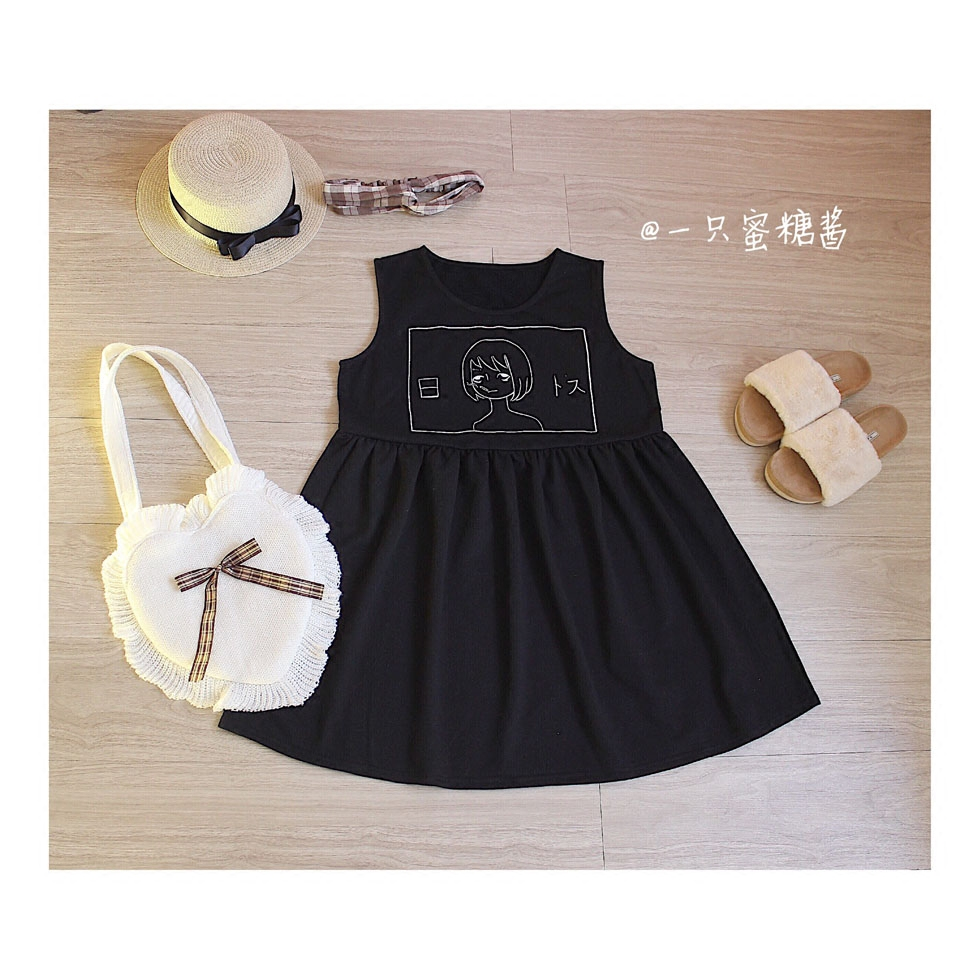 Harajuku Japanese Bad Girl School Girl Printed Cotton Vest Dress Black White Women Summe ...