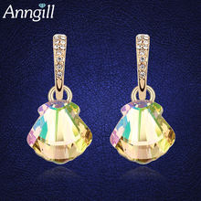 Модные изысканные серьги с голубыми кристаллами Сваровски для