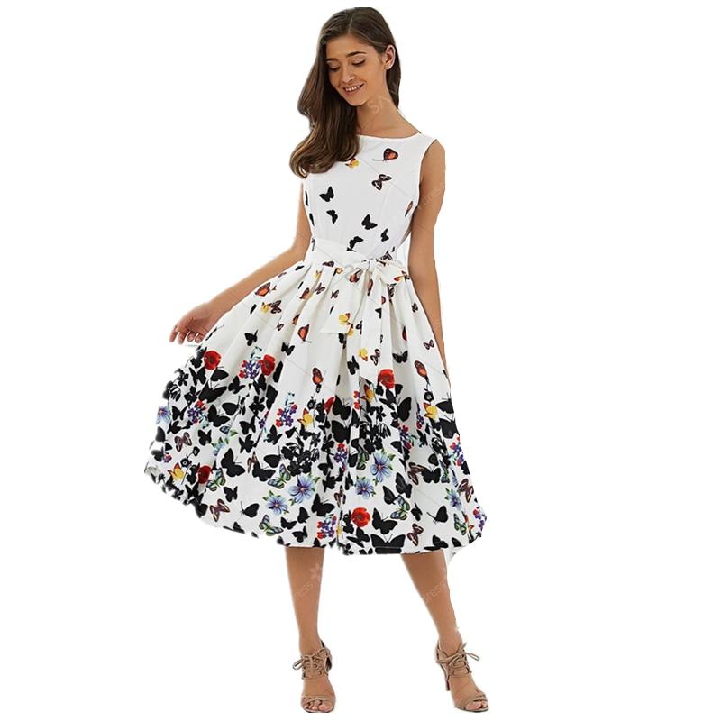 Hirigin Women Fashion Dress Summer Vintage Butterfly Pleat Swing Sleeveless Dresses Pinup Retro Housewife Party Dress women