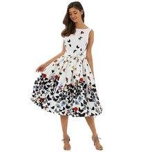 caebd3e3b Hirigin vestido de moda mujer verano vintage mariposa plisado swing sin  mangas Vestidos pinup retro Housewife party dress mujere.