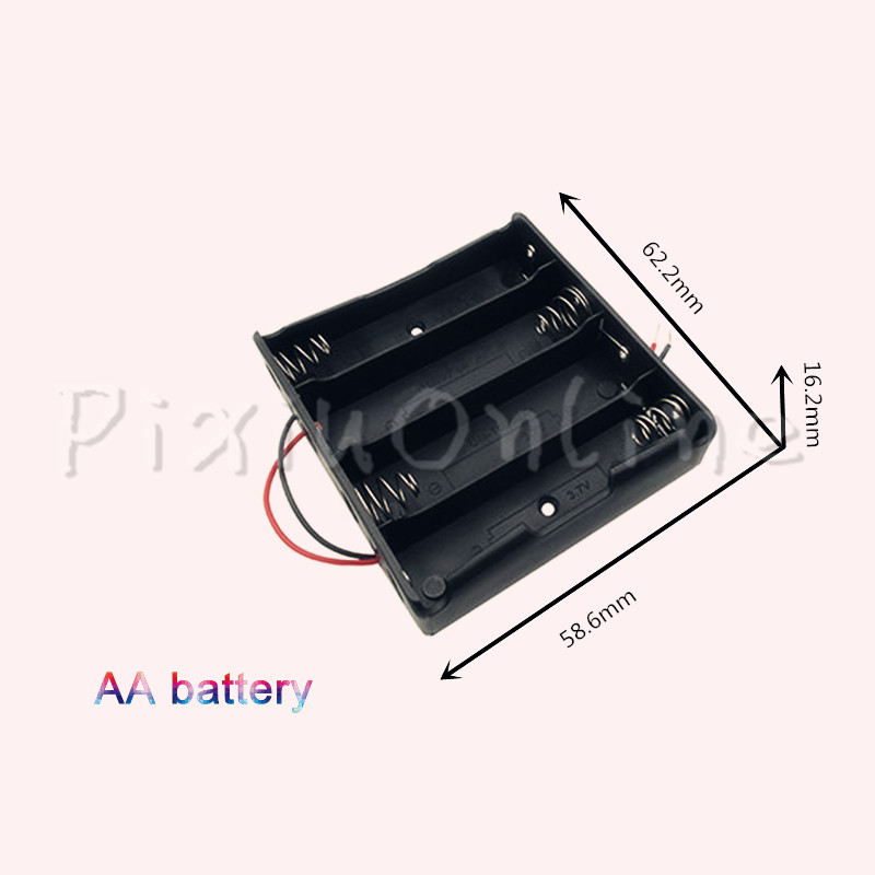 1pc ST013b Hold four AA battery Box DIY cell box No.5 battery holder No lid Plastic Battery Holder Storage Box part tool 10 pcs lot diy battery holder case storage black box hold cr2032 3v button coin cell wire lead on off switch veh51 p15