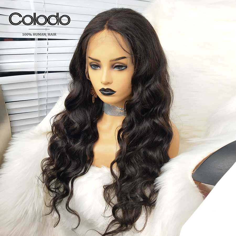 COLODO Middle Part Frontal Wig Brazilian Body Wave Human Hair With Babyhair Remy Hair Preplucked Lace Front Wigs For Black Women