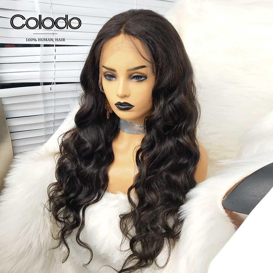 Coido средняя часть фронтальный парик бразильские объемные волнистые человеческие волосы с Babyhair remy волосы предварительно сорванные парики шнурка спереди для черных женщин