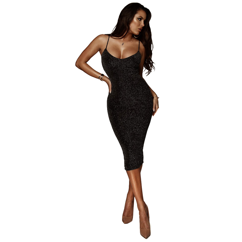 Pear shaped spaghetti strap bodycon midi dress