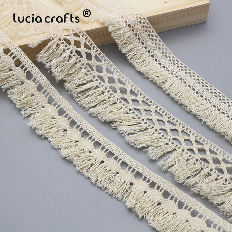 Lucia Crafts 1y/5y 35mm/37mm/50mm Beige Cotton Tassel Lace Trims Fabric DIY Sewing Handmade Materials Accessories N0102