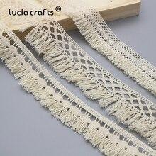 Lucia artesanato 1y/2y/5 quintal algodão borla rendas guarnições tecido diy costura artesanal acessórios n0102