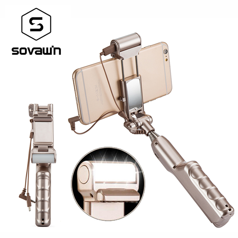 Portable Wired Selfie Stick Mirror LED Light 360 Rotate Universal Holder Monopod Tripod Rechargeable Handheld for Mobile Phone
