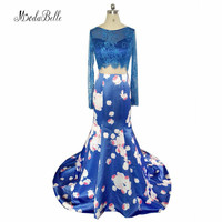 modabelle Flowered Floral Royal Blue Prom Dress 2 Piece Women Backless Satin Lace Dubai Mermaid Evening Party Dress Long 2018