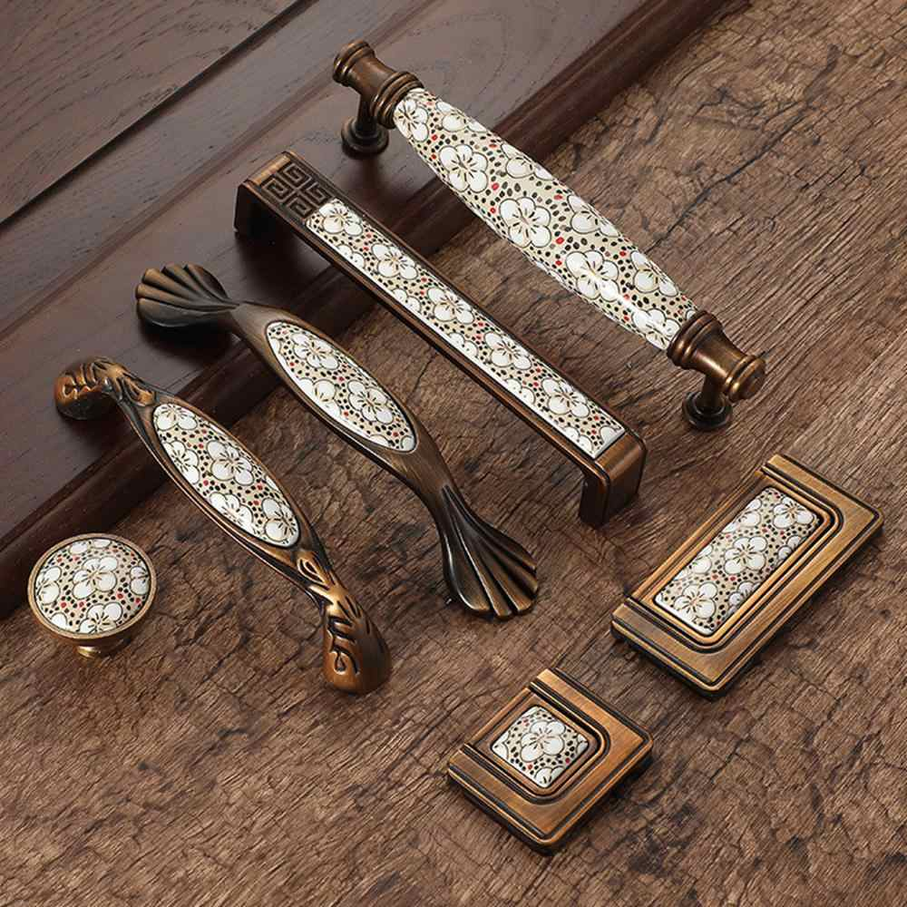 Antique Bronze Ceramic Cabinet Handles Vintage Drawer Knobs Wardrobe Door Handles European Furniture Handle Hardware