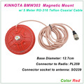 New Arrival KINNUOTA BMW303 Color Red MAGNETIC MOUNT SO239 with 5 Meter TEFLON RG-316 Coaxial Cable PL259