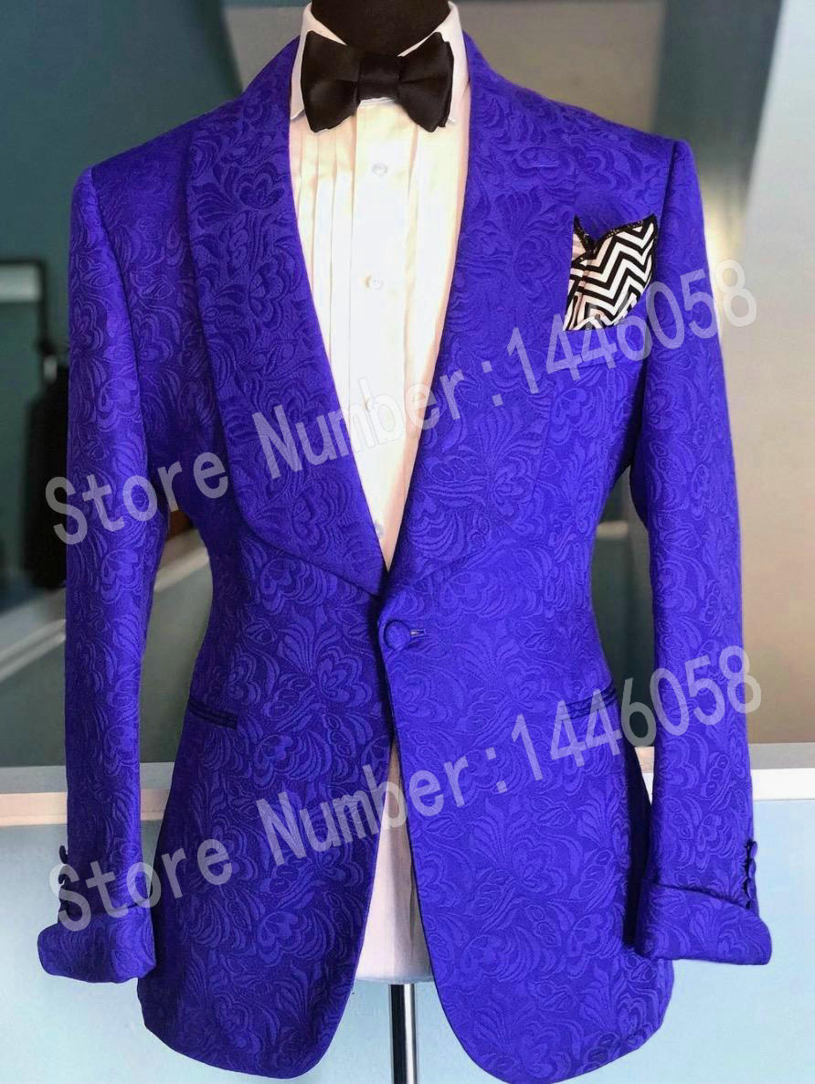 Men Suits With Pants 2019 Custom Made Royal Blue Jacquard Prom Suits For Men Sim Fit Wedding Groom Tuxedos Best Man Blazer
