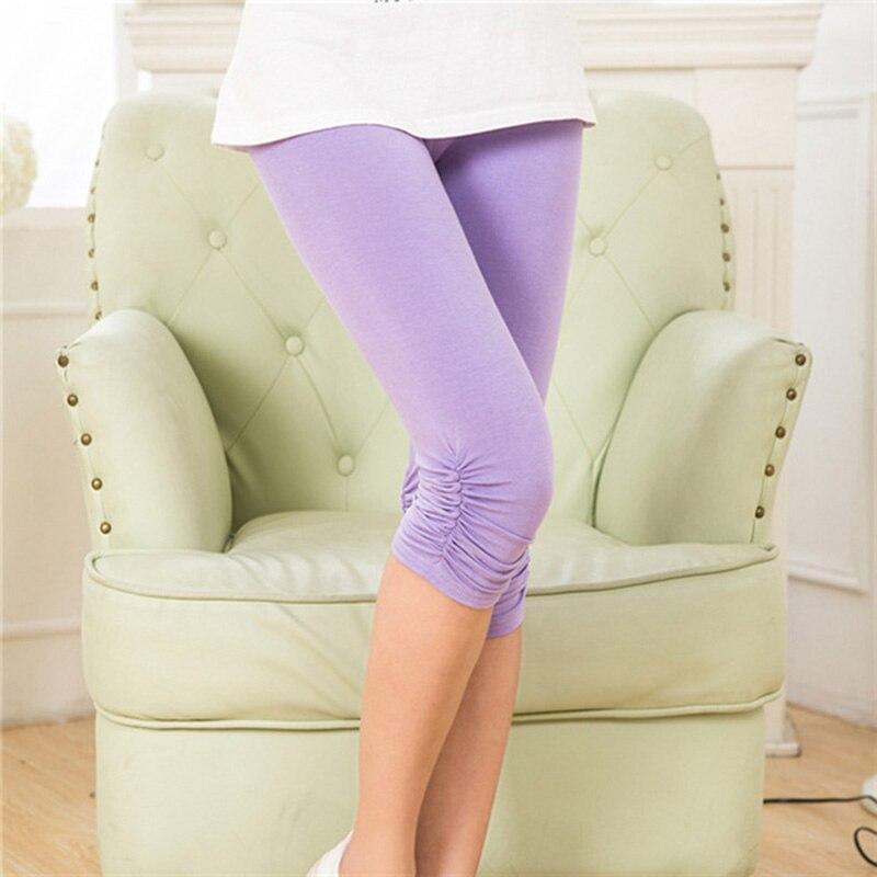 Modal Short Fitness   Leggings   Women Knee Length Solid Color Soft Comfortable Plus Size Summer Pants Leisure Trousers for Female