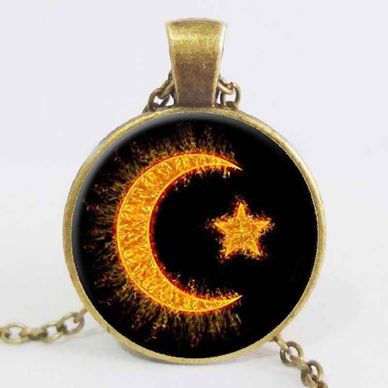New Fashion Wholesale Cabochon Choke Necklace Crescent Islam Diy Jewelry Islamic Amulet Religion Pendant LY334